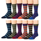 12 Units of Yacht & Smith Men's Thermal Striped Winter Camping Boot Socks - Mens Thermal Sock