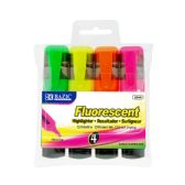 48 Units of BAZIC Fluorescent Highlighters w/ Pocket Clip (4/Pack) - Highlighter