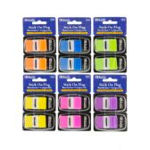 "48 Units of BAZIC 30 Ct. 1"" x 1.7"" Neon Color Standard Flags w/ Dispenser (2/Pack) - Sticky Note & Notepads"