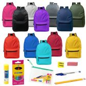 "12 Units of 15"" Backpacks with 12 Piece School Supply Kit - In 12 Assorted Colors - School Supply Kits"