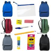 "12 Units of 15"" Backpacks With 12 Piece School Supply Kit - In 6 Assorted Colors - School Supply Kits"