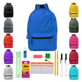 "24 Units of 17"" Backpacks with 12 Piece School Supply Kit - In 12 Assorted Colors - School Supply Kits"
