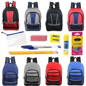 "48 Units of 17"" Backpacks With 12 Piece School Supply Kit In 8 Assorted Styles Sport - School Supply Kits"