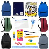 "24 Units of 15"" Backpacks In 6 Assorted Colors with 20 Piece Wholesale School Supply Kit - School Supply Kits"