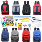 "24 Units of 17"" Backpacks With 20 Piece School Supply Kit in 8 Assorted Styles Sport - School Supply Kits"