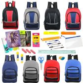 "24 Units of 17"" Backpacks with 30 Piece School Supply Kit - In 8 Assorted Styles - School Supply Kits"