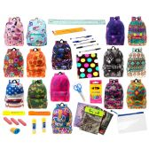 "24 Units of 17"" Backpacks With 30 Piece School Supply Kit - In 8 to 12 Prints - School Supply Kits"