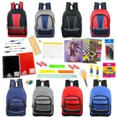 "24 Units of 17"" Backpacks With 53 Piece School Supply Kit In 8 Assorted Styles Wholesale Sport - School Supply Kits"