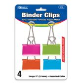 "48 Units of BAZIC Large 2"" (51mm) Assorted Color Binder Clip (4/Pack) - Clips and Fasteners"