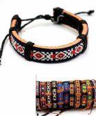 96 Units of Embroidered Pattern Faux Leather Bracelet - Bracelets
