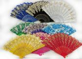 96 Units of Colorful Fans Assorted Flower Prints with Gold Accents - Novelty Toys