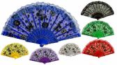 96 Units of Colorful Fans Flower with Butterfly Print Lace Assorted - Novelty Toys