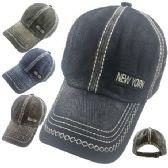 36 Units of 100% Cotton Washed Hat [New York] - Baseball Caps & Snap Backs