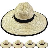 24 Units of Adults Large Black Brim Straw Hat - Sun Hats