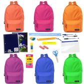 "24 Units of 17"" Backpacks with 20 Piece School Supply Kit - In 6 Assorted Colors - School Supply Kits"