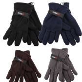 72 Units of Men's Fleece Glove's - Assorted Colors - Fleece Gloves
