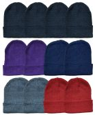 36 Units of Yacht & Smith Unisex Winter Knit Hat Assorted Colors - Winter Beanie Hats