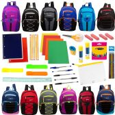 "18 Units of 17"" Assorted Backpacks with 53 Piece School Supply Kit - School Supply Kits"