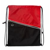 48 Units of Premium Drawstring Cinch Backpacks with Zipper Pocket In Red - Draw String & Sling Packs