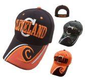 "24 Units of CLEVELAND Hat ""C"" [C/Wave on Bill] Brown/Orange - Baseball Caps & Snap Backs"