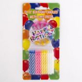 48 Units of Birthday Candles 24ct/12pc Cs 1 Happy Bday Sign & 12 Holders Party Blister Card - Birthday Candles