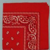 12 Units of Bandana-Red Paisley - Bandanas