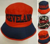 24 Units of Bucket Hat [CLEVELAND C] Navy/Red - Bucket Hats