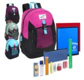 24 Units of Preassembled 18 Inch High Trails Clip Pocket Backpack & 20 Piece School Supply Kit - Girls - School Supply Kits