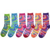 360 Units of Women's Swirl Print Crew Socks - Womens Crew Sock