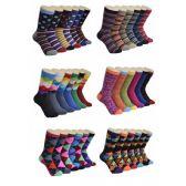 360 Units of Women's Geometry Print Crew Socks - Womens Crew Sock