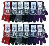 12 Units of Wholesale Bulk Winter Magic Gloves Warm Brushed Interior, Stretchy Assorted Mens Womens (Womens/Snowflakes, 12) - Knitted Stretch Gloves