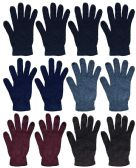 12 Units of Wholesale Bulk Winter Magic Gloves Warm Brushed Interior, Stretchy Assorted Mens Womens (Mens/Assorted, 12) - Knitted Stretch Gloves