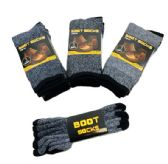 24 Units of Thermal Boot Socks 9-13 [Assorted] Variegated - Mens Thermal Sock
