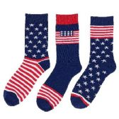 24 Units of 1pr Crew Socks-3 Styles [Americana] 10-13 - Mens Crew Socks