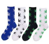 24 Units of 1pr Crew Socks-4 Colors [Colorful Marijuana] 10-13 - Mens Crew Socks