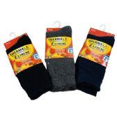 24 Units of 1pr Men's Extreme Thermal Crew Socks 10-13 [Brushed Interior] - Mens Thermal Sock