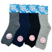 24 Units of Men's Soft & Cozy Fuzzy Socks [Solid Colors] - Men's Fuzzy Socks