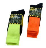 24 Units of Men's 3 Pairs Neon Work Socks, Size 10-13 - Mens Tube Sock