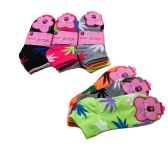 60 Units of Ladies Anklets 9-11 [Colorful Marijuana] - Womens Ankle Sock
