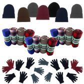 12 Units of 12 Gloves, 12 Winter Throw Blankets, 12 Beanies In Every Set - Winter Care Sets