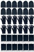12 Units of Yacht & Smith 3 Piece Winter Set, Hat Glove Fleece Scarf Unisex (Black, 12 Sets) - Winter Care Sets