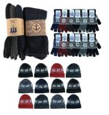 180 Units of Yacht & Smith Mens 3 Piece Winter Care Set, Fleece Hat, Thermal Sock, Snow Flake Glove - Winter Care Sets