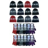 240 Units of Yacht & Smith Women's Winter Set, Snowflake Print Stretch Gloves And Fleece Lined Beanie - Winter Care Sets