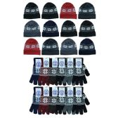240 Units of Yacht & Smith Men's Winter Set, Snowflake Print Stretch Gloves And Fleece Lined Beanie - Winter Care Sets
