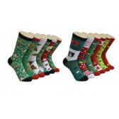 360 Units of Women's Holiday Print Crew Socks Size 9-11 - Womens Crew Sock