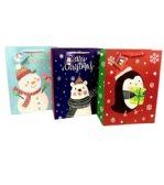 144 Units of Large Matte Christmas Gift Bag - Christmas Gift Bags and Boxes