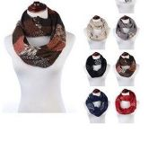 24 Units of Womens Acrylic Winter Scarf With Pattern Tube Scarf Assorted Color - Winter Scarves