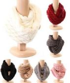 48 Units of Womens Cable Knit Winter Infinity Scarf Fleece Lined Neck Warmer - Winter Scarves