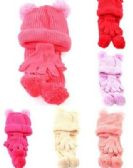36 Units of Girls Winter Three Piece Set - Winter Sets Scarves , Hats & Gloves