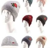 72 Units of Womans Heavy Knit Winter Beanie Stretch Hat With Rose - Winter Beanie Hats